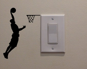 "Athletic Basketball Player Dunking on Light Switch (3.5""W x 4.75""H) - Bedroom/Home Decor/Wall Art/Sportsroom/Mancave/Boys Room Decal"