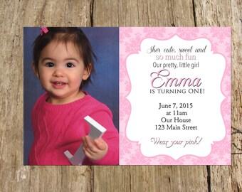Pretty in Pink Damask Photo 1st Birthday Shower Invitation Digital Printable File