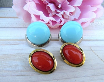 2 Pairs of Button Style Clip On Earrings, Vintage 1960's