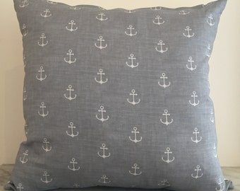Charcoal Grey Anchor Cushion Cover