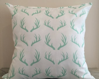 Mint Antler Cushion Cover
