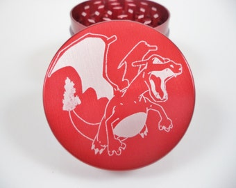 "Pokemon Charizard 2.2"" Laser Etched 4 Piece Metal Herb Grinder"