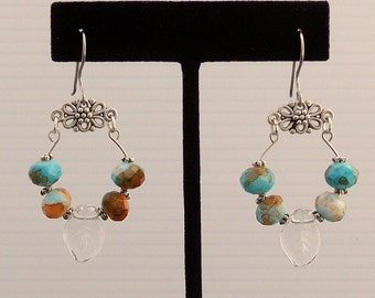 Memory Wire Earrings With Turquoise and Brown Rondelles