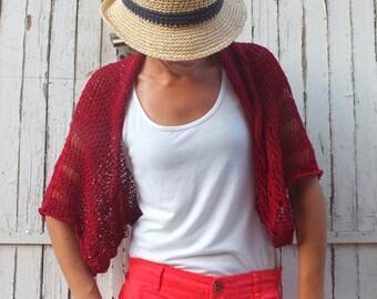 Burgundy red Shrug Summer Shrug Loose knit cotton summer shrug Beach cover up