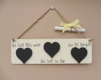Weight loss Diet Slimming chalkboard plaque, lbs lost this week, lbs lost so far, lbs 'til target. Motivational tool