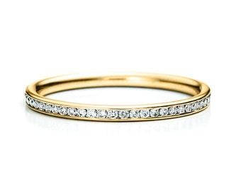 Sale, Thin Diamond Band. Channel Set. 14K SOLID gold. Diamond Wedding Band. Thin Wedding Band. Wedding Ring. Eternity Band. Bridal. Minimal
