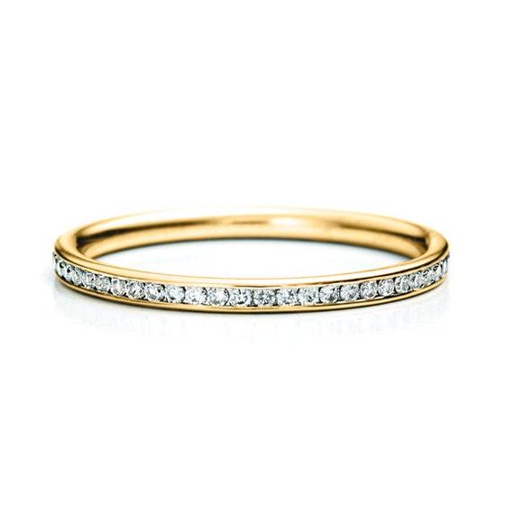 Sale Thin Diamond Band Channel Set 14K SOLID Gold Diamond