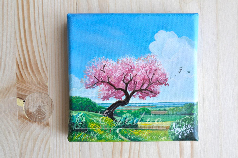 Mini dipinto ad olio con albero di ciliegio in fiore dipinto for Dipinti ad olio fiori