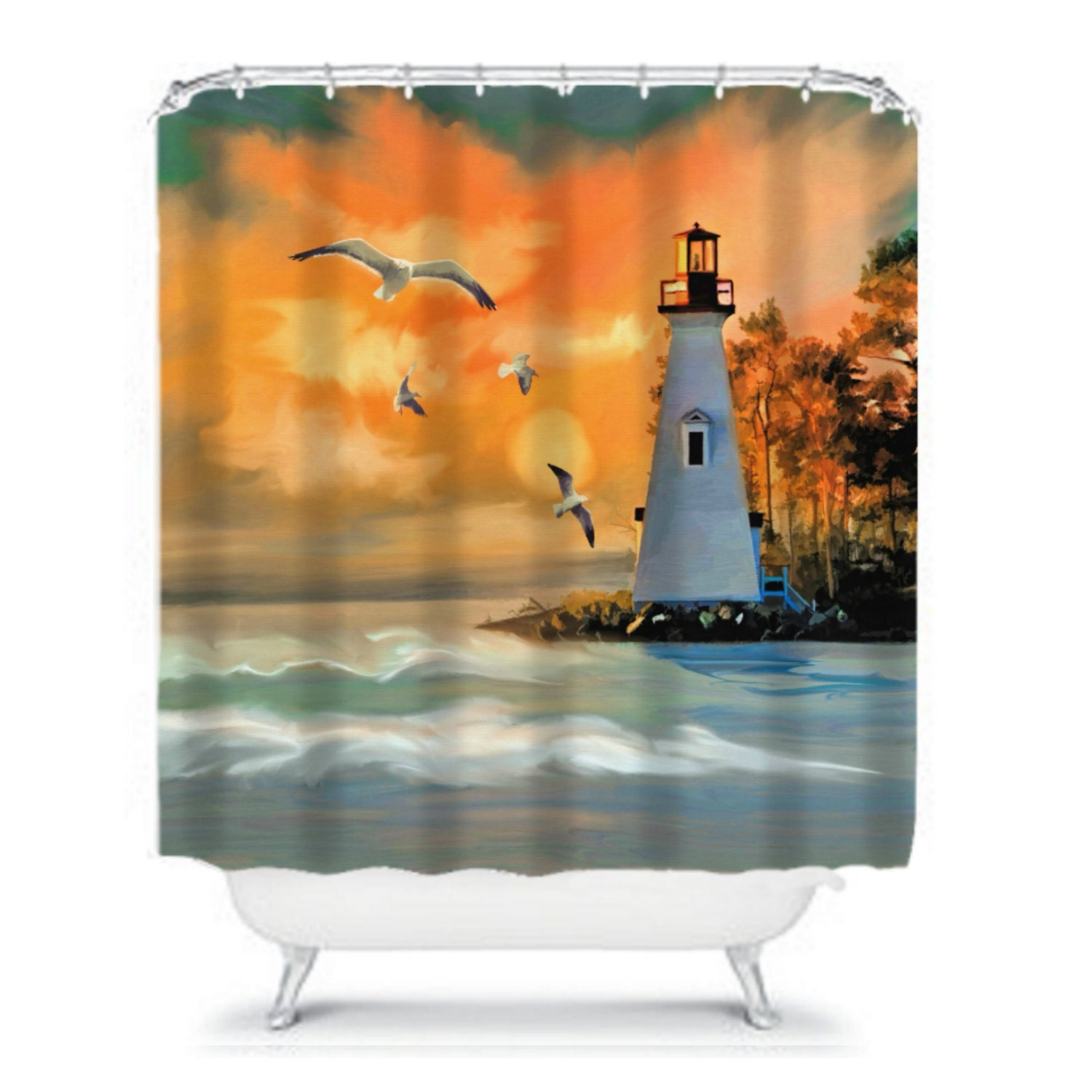 Lighthouse Shower Curtain Nautical Curtain By FolkandFunky