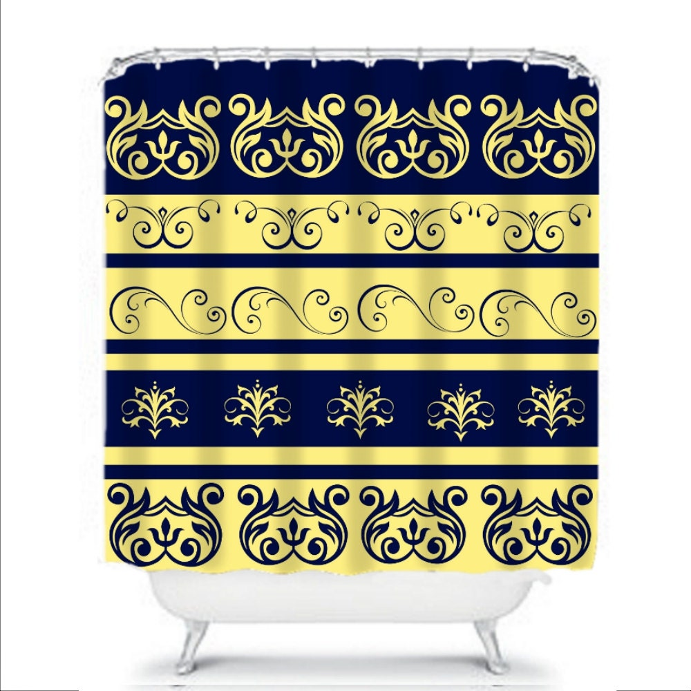 Navy Blue And Yellow French Country Shower By FolkandFunky