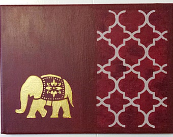 red, gold, elephant, transitional, original, art, modern,canvas, zen, painting