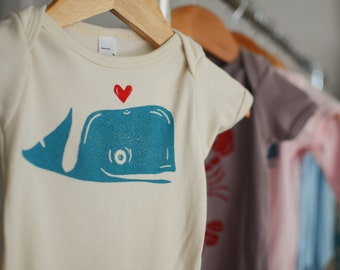 Whale on Organic American Apparel Onesie - Natural Color