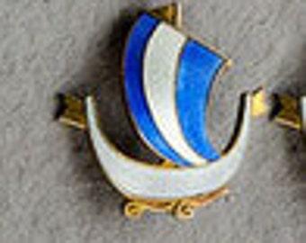 Aksel Holmsen Sterling boat ship Guilloche Enamel Brooch