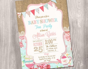 baby shower invitation tea party  etsy, invitation samples