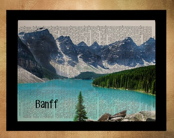 Banff National Park Dictionary Art Print Canada Moraine Lake Alberta Wall Art Home Decor Gift Ideas Travel da884