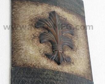 "Decor FLEUR shield wall plaque art www.NEO-MFG.com 24"""