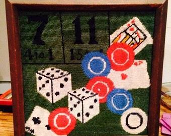 vintage craps casino blackjack poker needlepoint