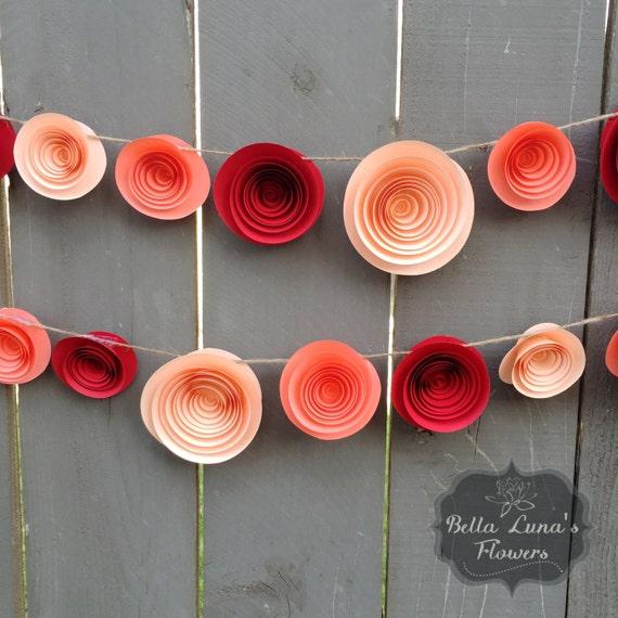 Paper flower garland red coral peach paper flowers flower il570xn mightylinksfo