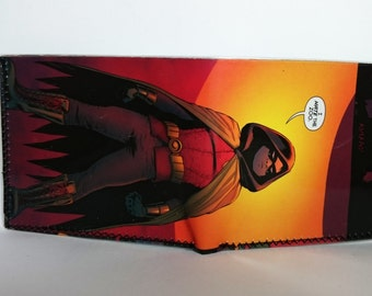 robin - comic book wallet, slim wallet, hanmade wallet, card holder, thin wallet, vinyl wallet, mens wallet, comic book wallet