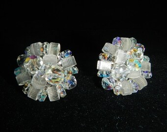 Vintage Vendome Beaded Earrings  - clear, cluster - 1950s - clip-on earrings, marked, beaded, retro, plastic, costume jewelry, mid-century