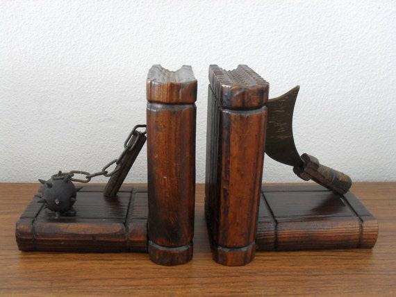 Unique Vintage Wood Bookends Knight Weapon Broad Axe And Mace