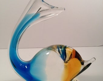 Chalet Canada Art Glass Whale, Blue and Yellow Lead Crystal Whale, Collectible Glass, Decor for Beach Home, Mid-Century.