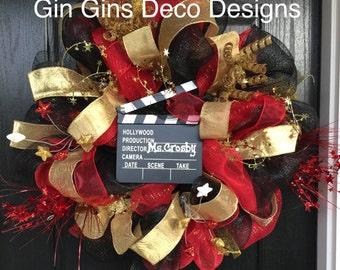 Hollywood Themed Deco Mesh Wreath