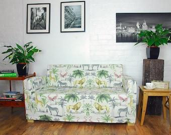 ikea solsta sofa bed cover in safari animals pattern