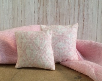 1 1/4 inch Shabby Chic Handmade Miniature Dollhouse Throw Pillow Set - Soft White and Pink