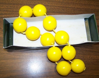 Yellow Ball Chain Candles - set of 12