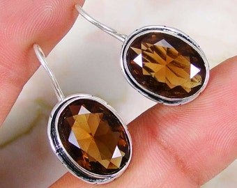 Earrings sterling silver .925 smoky quartz