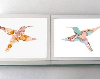 Hummingbird Art - Watercolor painting - giclee Prints  - Nursery animal Painting - fantasy animal nursery art baby room natural brown colour