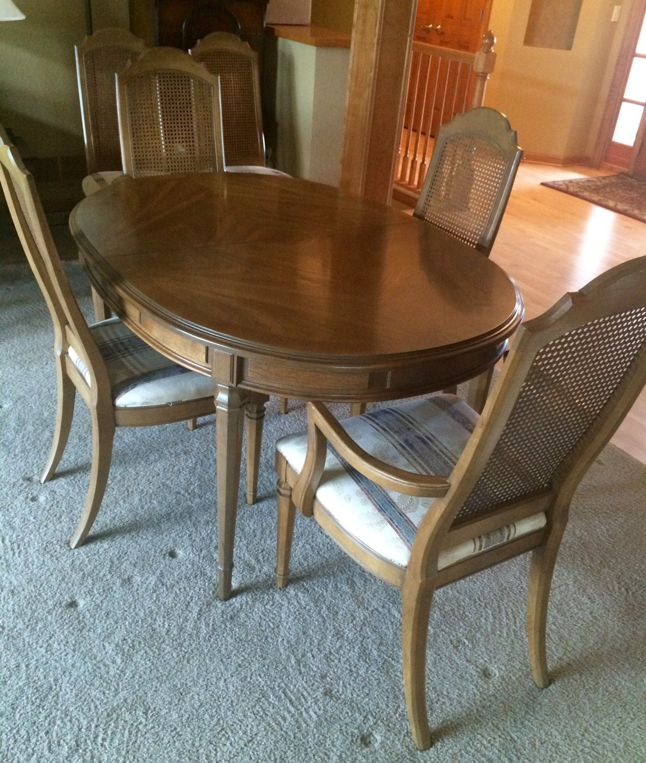 Esperanto drexel dining room set 1960s 6 chairs 3 for Pecan wood furniture dining room