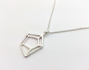 Little Minimalist Geometric Sterling Silver Necklace. Geometric necklace. Minimalist necklace. Gift idea for her. UK seller