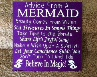 Advice from a Mermaid wooden sign
