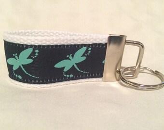 Navy Blue and Aqua Blue/Green Dragonfly Jacquard Woven Ribbon on White Webbing MINI Key Fob Keychain