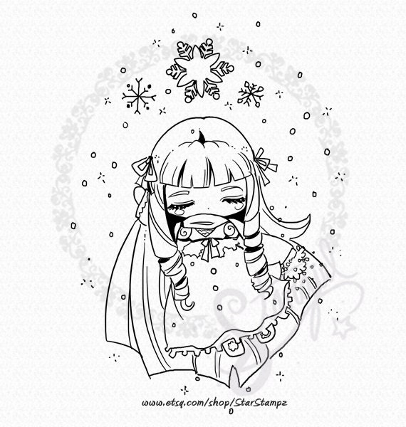 Snowflake Fairy - DIGITAL STAMP Instant Download