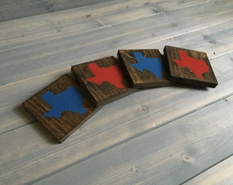 Pick Colors, Texas Wood Coasters, Custom Texas Coasters, Set of 4, Stained Hand Painted, Texas decor, Texas art