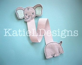 ITH Elephant Bookmark Machine Embroidery Design Pattern Download In The Hoop Felt Animal Book Back To School