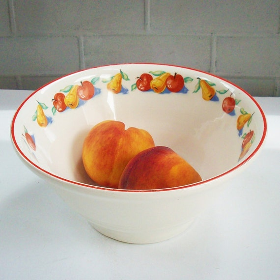 Large Vintage Art Deco Bowl Red Yellow Green And Blue Fruit