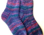 Wool socks hand knitted warm socks from sock yarn with kid mohair Blue purple green striped elegant colorful bright stylish womens unisex