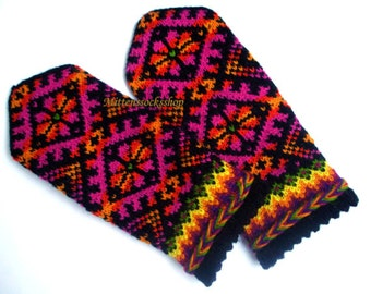 Purple Pink Yellow Hand Knitted Wool Mittens Purple Pink Yellow Hand Knit Wool Gloves Warm Mittens Winter Gloves Patterned Latvian Mittens