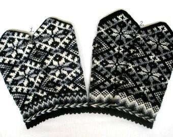 Black Gray White Knitted Wool Mittens Hand Knitted Black Gray White Wool Gloves Winter Gloves Patterned Latvian Mittens Scandinavian Mittens