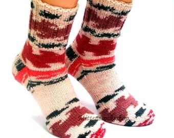 White Red Black Socks Hand Knitted Socks White Red Black Women's socks Girl's Socks Men's Socks Warm Socks Winter Socks Colorful Socks Gift