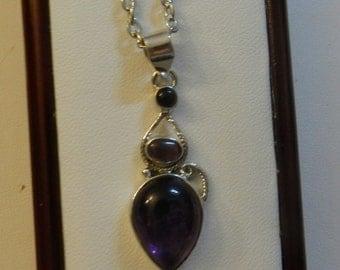 Silver Purple Tear drop Necklace. V1