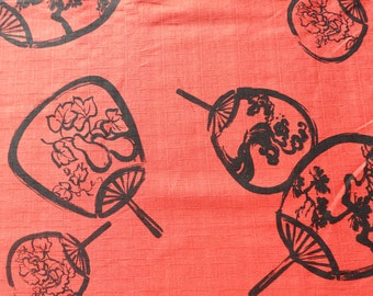 Red and Black Japanese fan. Japanese fabric. Japanese cotton fabric. Fabric by half yard, Fabric byhalf meter