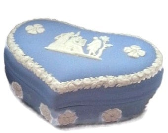 Blue Wedgwood Jasperware Large Heart Shaped Box