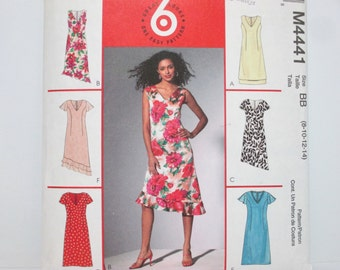 McCall's 4441 ~ Casual Summer Dress with Princess Seams & Asymmetrical Flutter Hem SIZE 8-10-12-14 UNCUT Sewing Pattern