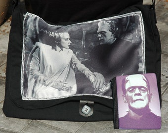 Frankenstein's Monster and Bride Printed Messenger Bag -Matching Coin Purse