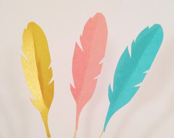 Feather Cupcake Toppers - Wild One Birthday - Tribal Toppers - Boho Party Decor - Wild and Three - Tribal Theme - Bohemian